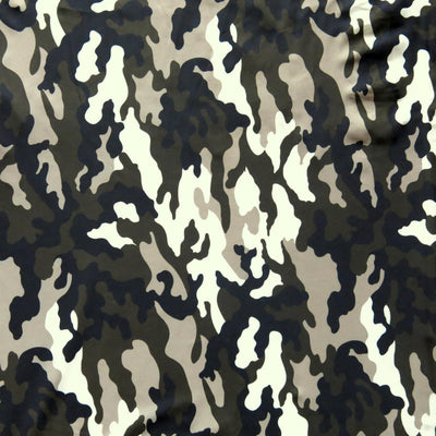 Black, Dark Olive, Light Brown, and Cream Camo Nylon Spandex Swimsuit Fabric