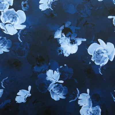 "Blue and White Cabbage Rose Nylon Spandex Swimsuit Fabric - 27"" Remnant"