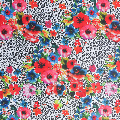 "Bright Floral on Leopard Poly Spandex Swimsuit Fabric - 25"" Remnant"