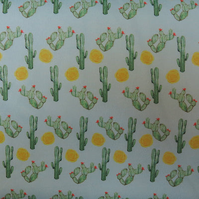 Cactus on Mint Nylon Spandex Swimsuit Fabric