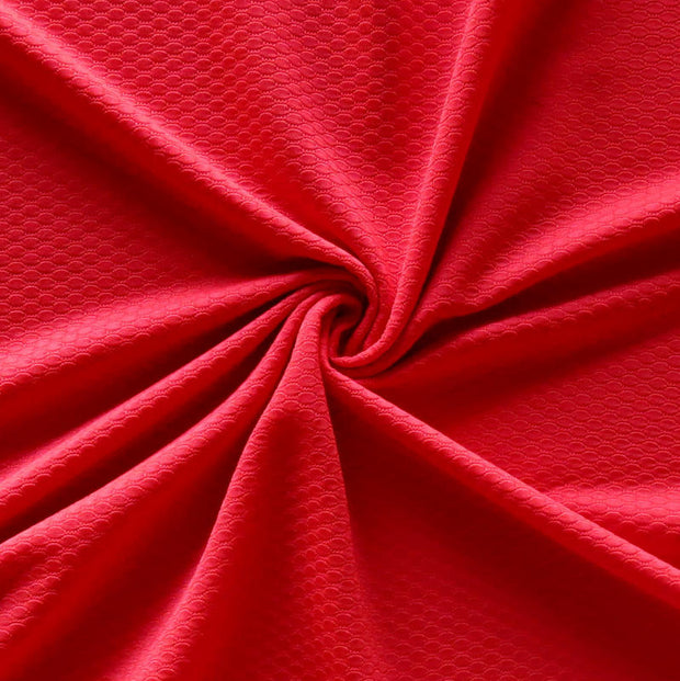 Challenge Red Dri-Fit Bubble Jacquard Poly Spandex Mesh Fabric