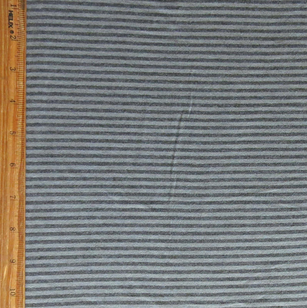 Charcoal and Grey Micro Stripe Bamboo Lycra Knit Fabric