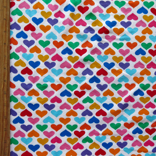 Colorful Hearts on White Cotton Lycra Knit Fabric