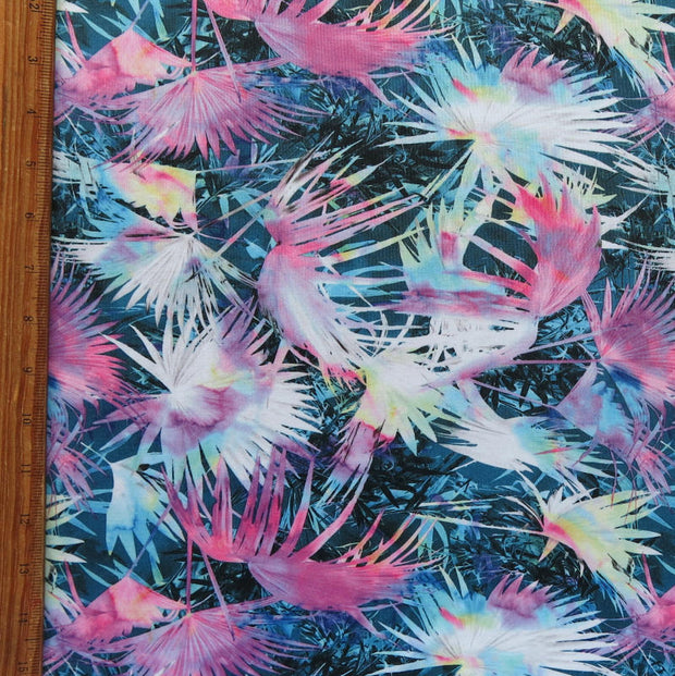 Colorful Palm Fronds Nylon Spandex Swimsuit Fabric