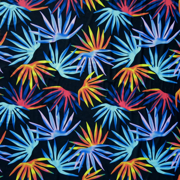 Colorful Palm Fronds on Black Nylon Spandex Swimsuit Fabric