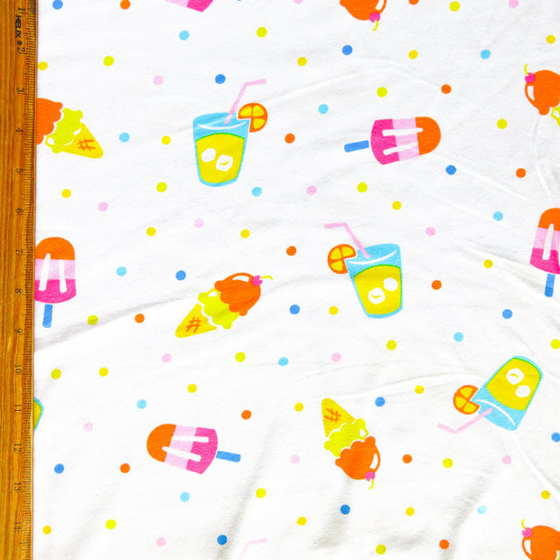 Cool Treats and Polka Dots Cotton Knit Fabric