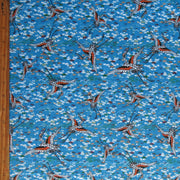 Cranes on Blue Nylon Spandex Swimsuit Fabric