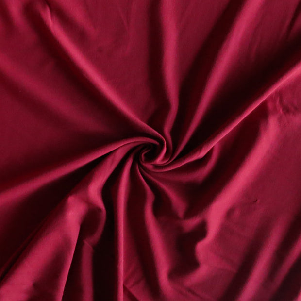 Dark Red Bamboo Organic Cotton Spandex Jersey Knit Fabric