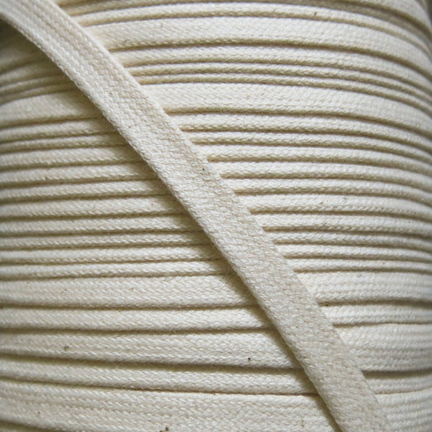 Natural 3/8 Cotton Hoodie Drawstring Flat Tape
