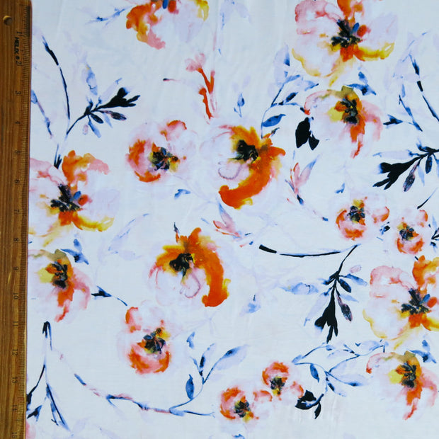 Faded Poppies Nylon Spandex Swimsuit Fabric