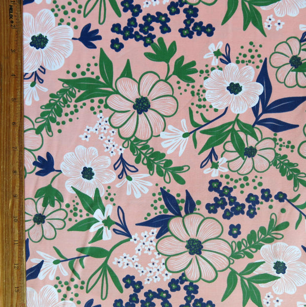 Navy/Green Floral on Peach Nylon Spandex Swimsuit Fabric