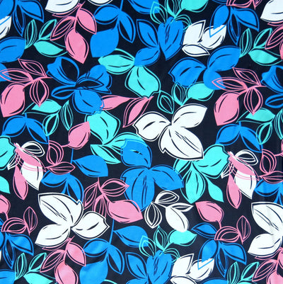 Fluorescent Leaves on Dark Navy Nylon Spandex Swimsuit