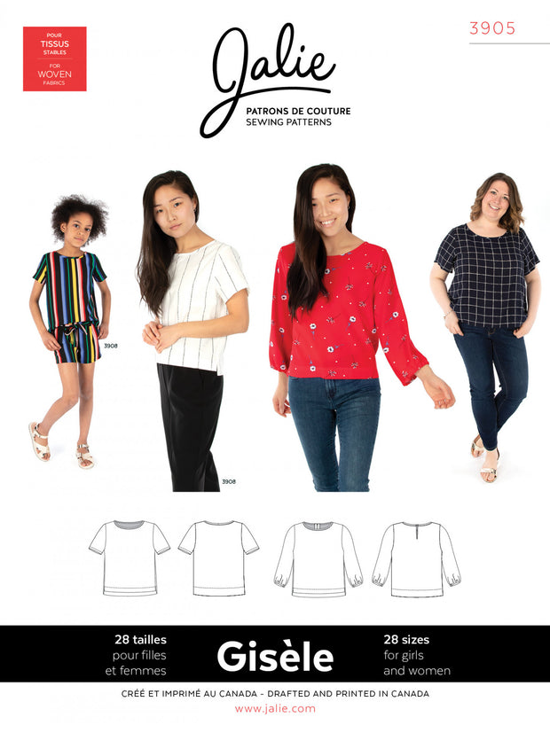 Gisele Round Neck Blouse Sewing Pattern by Jalie