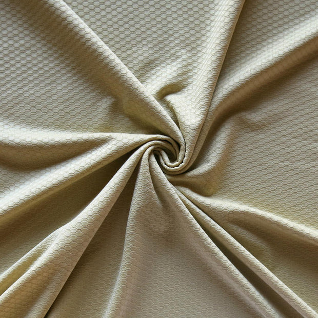 Gold Dust Dri-Fit Bubble Jacquard Poly Spandex Mesh Fabric