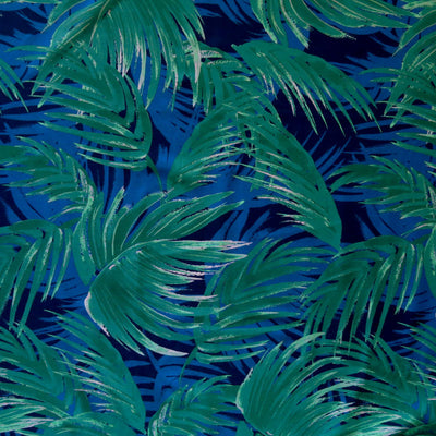 Green/Blue Palms Nylon Spandex Swimsuit Fabric