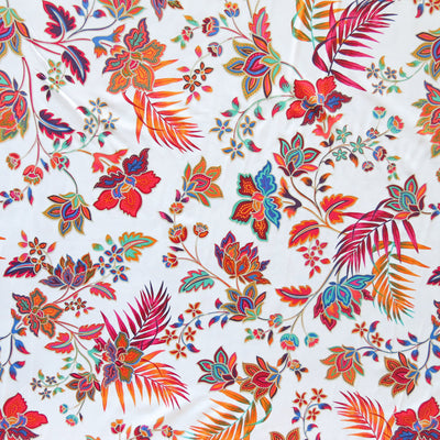 Harvest Paisley on White Nylon Spandex Swimsuit Fabric
