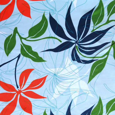 Hawiaiian Leaves on Blue Microfiber Boardshort Fabric