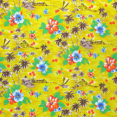 Hawaiian Paradise on Yellow Nylon Spandex Swimsuit Fabric