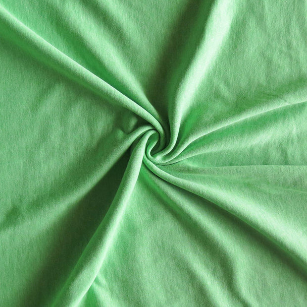 Heathered Spring Green Cotton Poly Rib Knit Fabric
