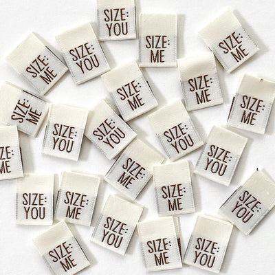 """Size:Me/You"" 8 Pack Woven Labels by Kylie and the Machine"