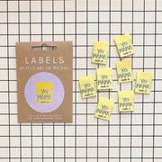 """Yo Mama Made It"" 8 Pack Woven Labels by Kylie and the Machine"