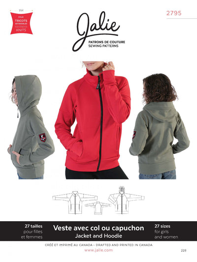 Zip Front Jacket and Hoodie Sewing Pattern by Jalie