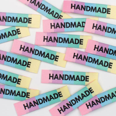 "Rainbow ""Handmade"" 8 Pack Woven Labels by Kylie and the Machine"