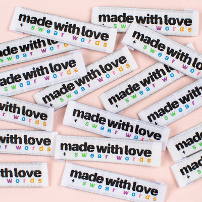 """Made with Love and Swear Words"" 8 Pack Woven Labels by Kylie and the Machine"