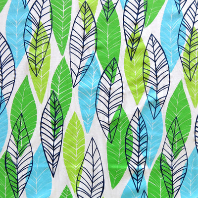 Leaves on White Nylon Spandex Swimsuit Fabric