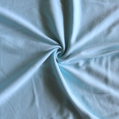 Light Aqua Blue Cotton Rib Knit Fabric