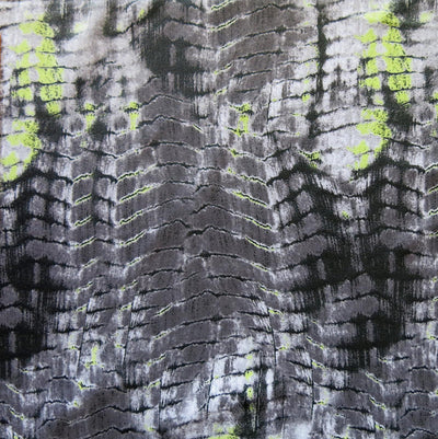 Lime/Grey Gator Print Poly Spandex Swimsuit Fabric