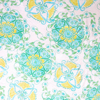 Mint and Yellow Medallion Cotton Slub Jersey Knit Fabric