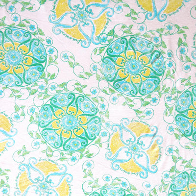Mint and Yellow Medallion Cotton Lycra Jersey Knit Fabric