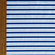 Navy, Royal, and White Stripe Nylon Spandex Swimsuit Fabric
