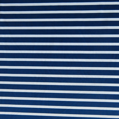 Dark Navy and White Stripe Nylon Spandex Swimsuit Fabric