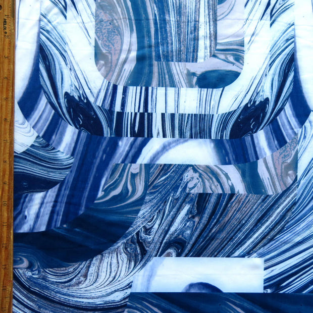 Oily Abstract Blue Nylon Spandex Swimsuit Fabric