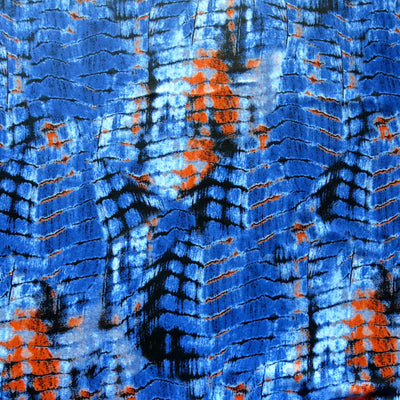 "Orange/Blue Gator Print Poly Spandex Swimsuit Fabric - 26"" Remnant"