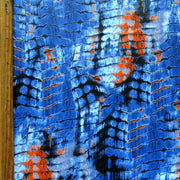 Orange/Blue Gator Print Poly Spandex Swimsuit Fabric