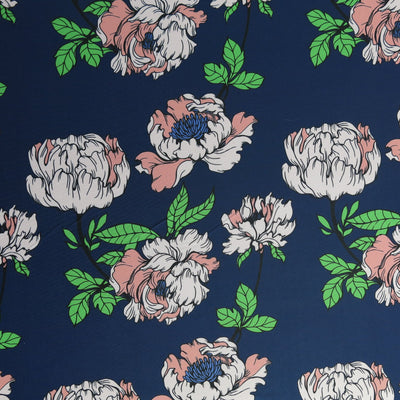 Peach Peonies on Navy Poly Spandex Swimsuit Fabric