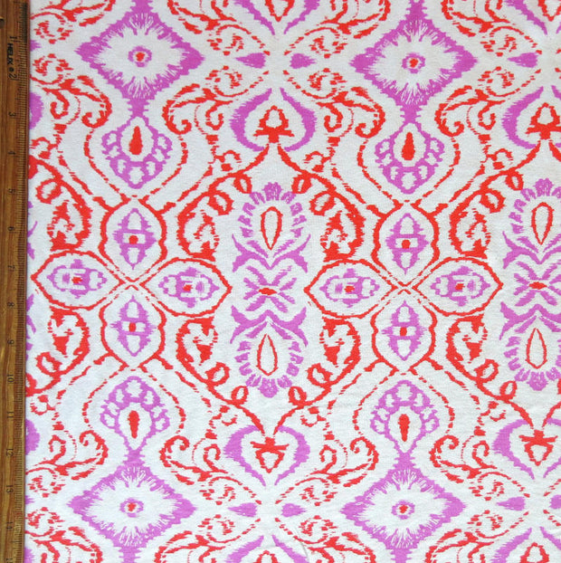 Persimmon and Orchid Paisley Cotton Knit Fabric