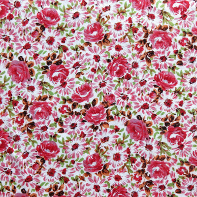 English Garden Pink Cotton Jersey Knit Fabric