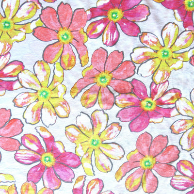 "Pink and Yellow Floral Cotton Slub Jersey Knit Fabric - 18"" Remnant"