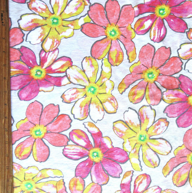 Pink and Yellow Floral Cotton Slub Jersey Knit Fabric
