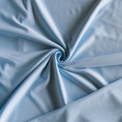 Powder Blue Poly Lycra Fleece Back Knit Fabric - SECONDS - Not Quite Perfect