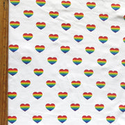 Rainbow Hearts on White Cotton Lycra Knit Fabric