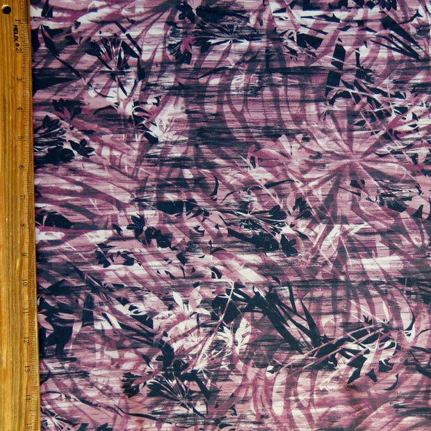 Raspberry Glaze Foliage Abstract Nylon Spandex Swimsuit Fabric
