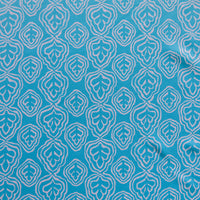 Reaction Aqua Leaf Outline Poly Lycra Knit Fabric - 1 1/3 Yard Pieces