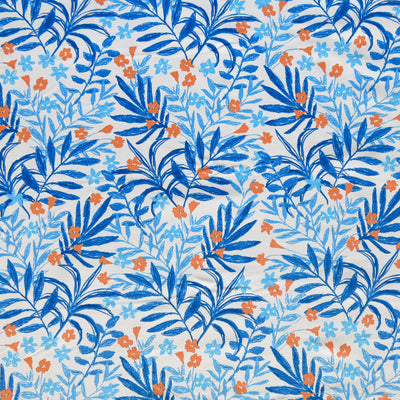 Reaction Blue Branches and Blossoms Poly Lycra Knit Fabric