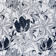 Reaction Navy Lilies Poly Lycra Knit Fabric