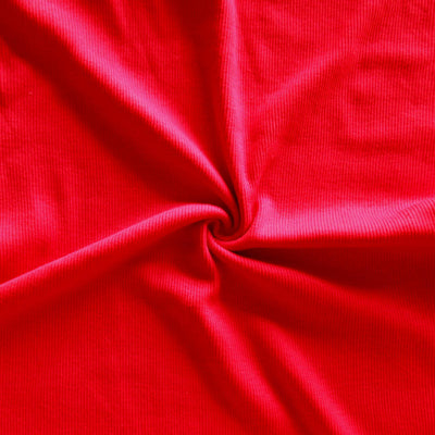 Red 2x1 Tubular Cotton Rib Knit Fabric